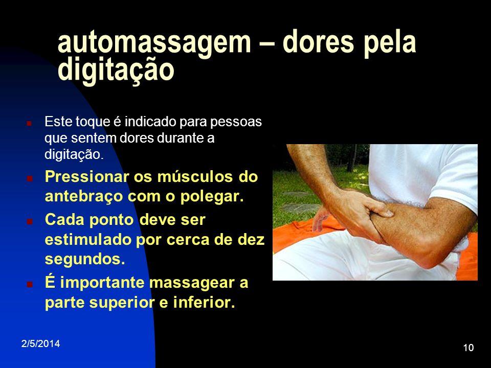 automassagem – dores pela digitação