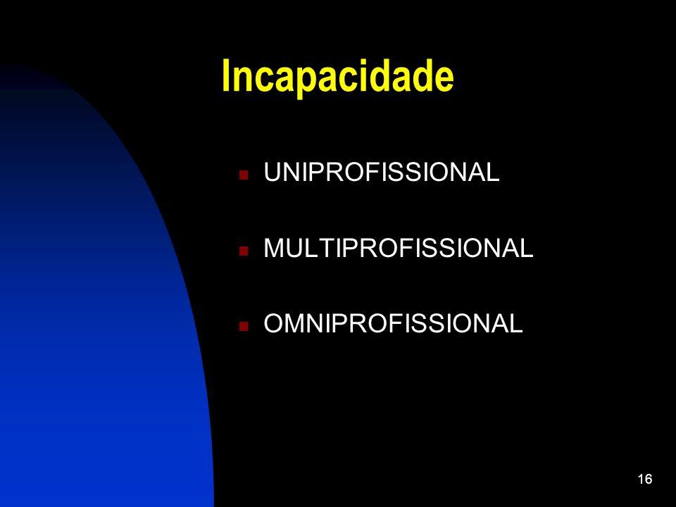Incapacidade UNIPROFISSIONAL MULTIPROFISSIONAL OMNIPROFISSIONAL