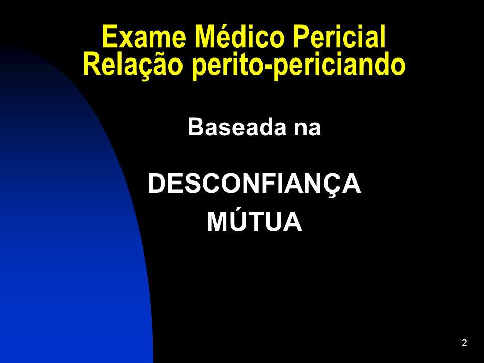 Exame Médico Pericial Relação perito-periciando