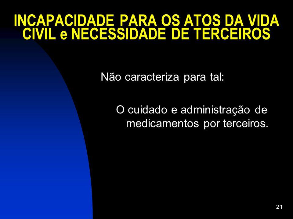 INCAPACIDADE PARA OS ATOS DA VIDA CIVIL e NECESSIDADE DE TERCEIROS