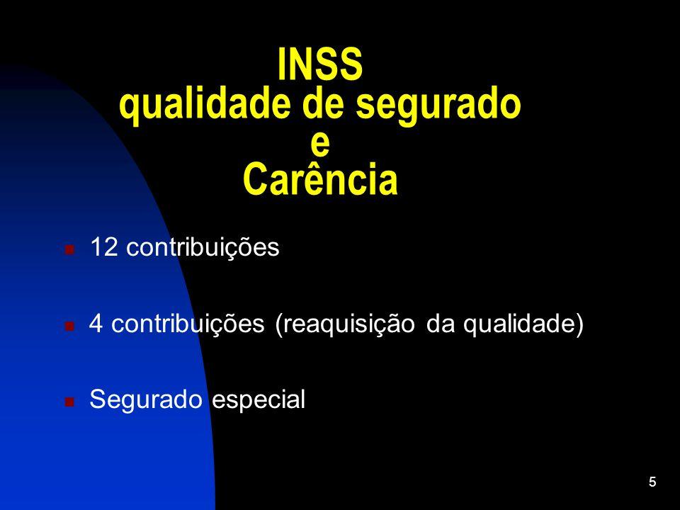 INSS qualidade de segurado e Carência