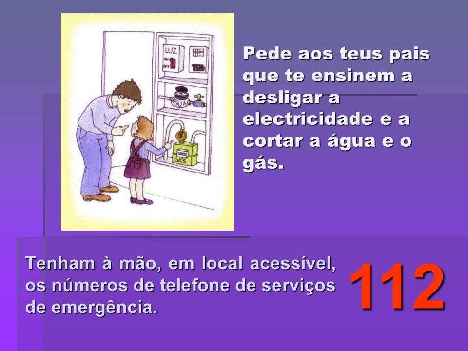 Pede aos teus pais que te ensinem a desligar a electricidade e a cortar a água e o gás.