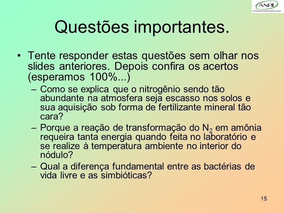 Questões importantes. Tente responder estas questões sem olhar nos slides anteriores. Depois confira os acertos (esperamos 100%...)