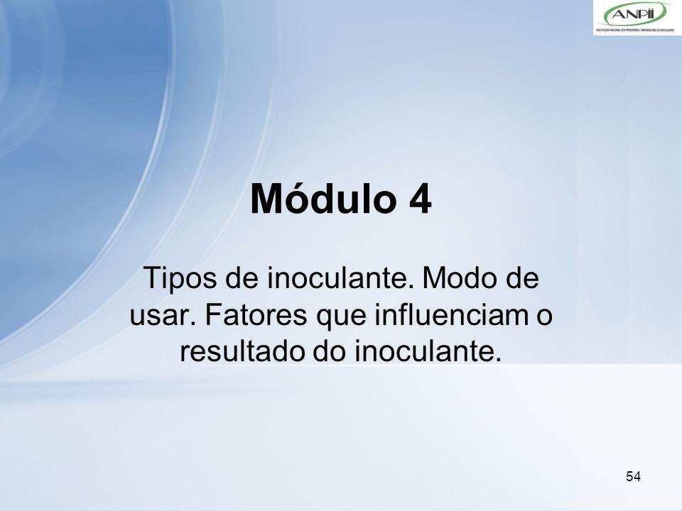 Módulo 4 Tipos de inoculante. Modo de usar. Fatores que influenciam o resultado do inoculante.