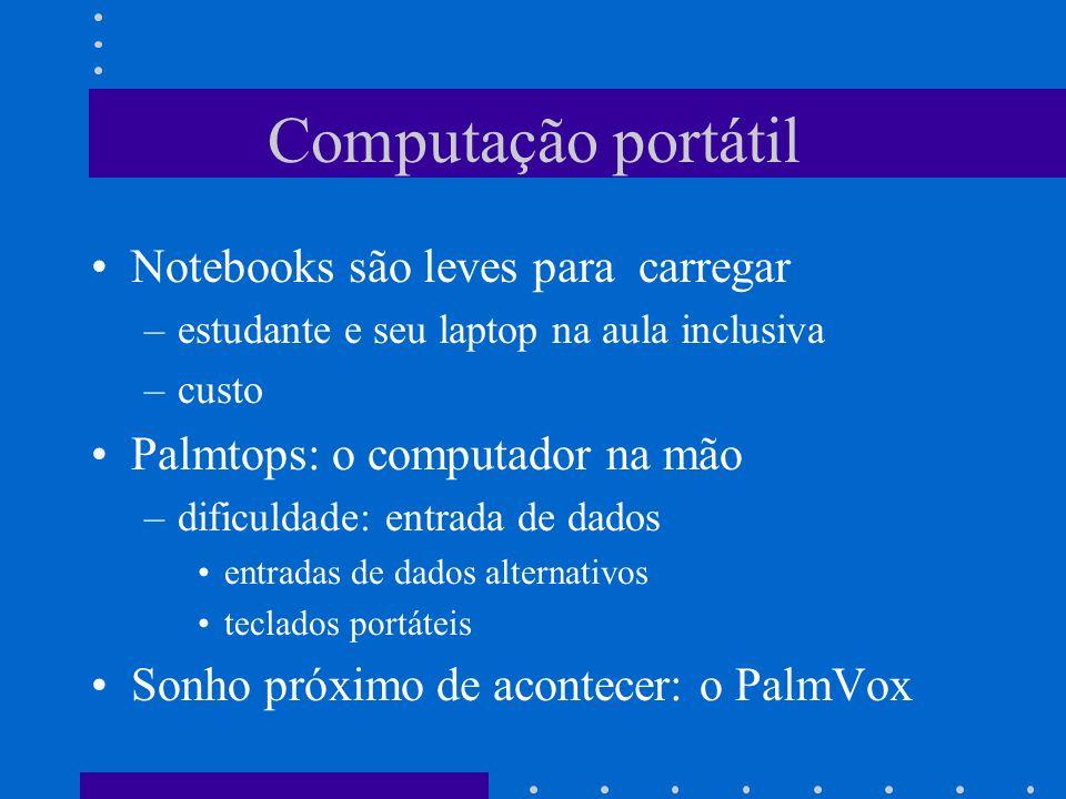 Computação portátil Notebooks são leves para carregar