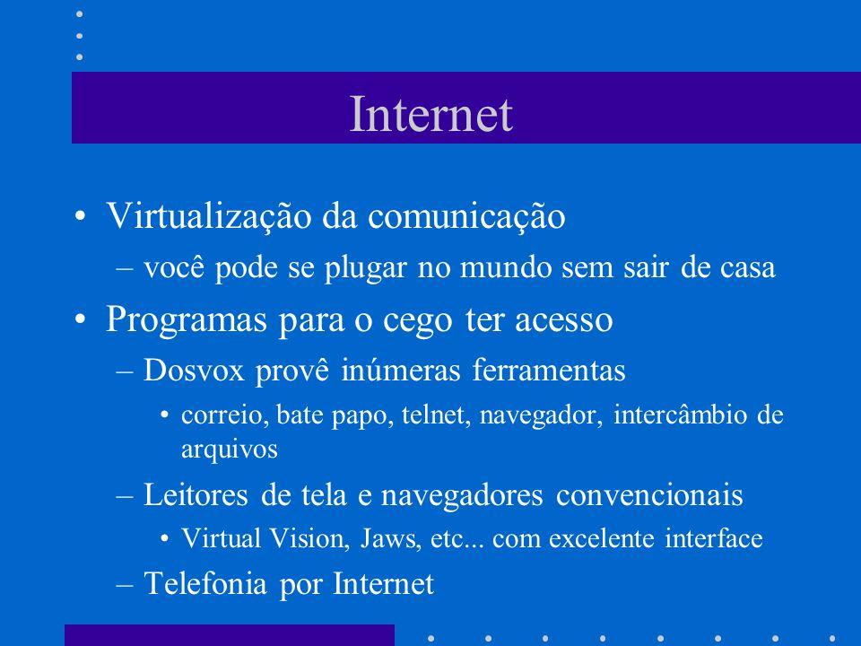 Internet Virtualização da comunicação Programas para o cego ter acesso