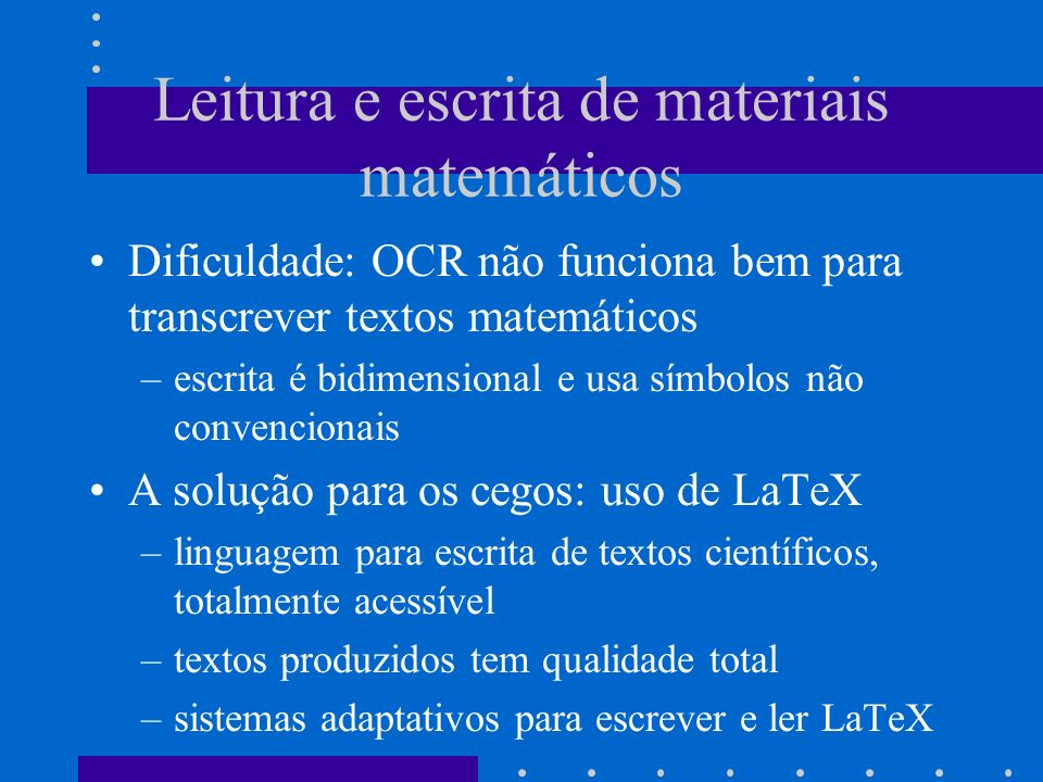 Leitura e escrita de materiais matemáticos