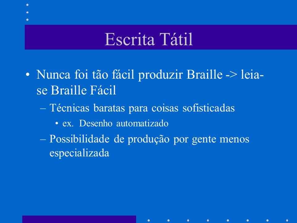 Escrita Tátil Nunca foi tão fácil produzir Braille -> leia-se Braille Fácil. Técnicas baratas para coisas sofisticadas.