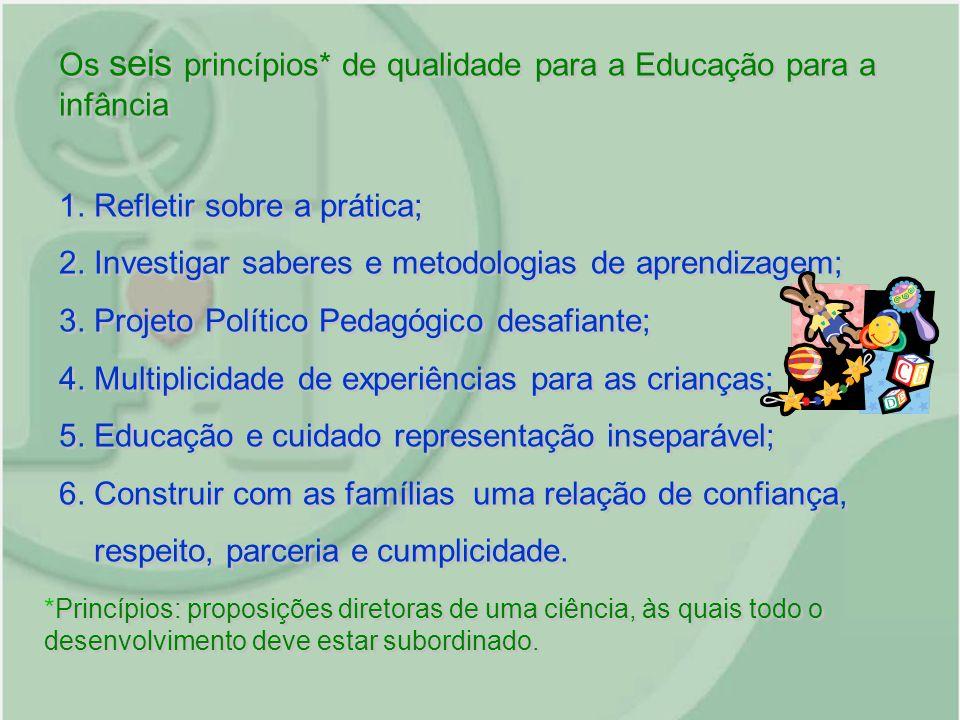 Os seis princípios* de qualidade para a Educação para a infância