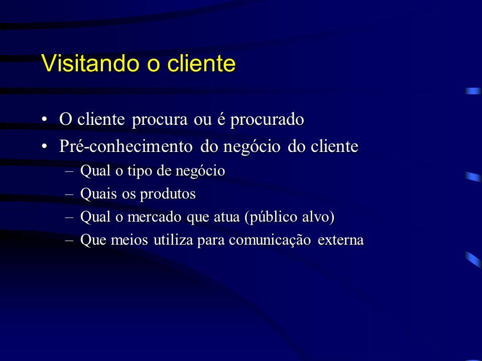 Visitando o cliente O cliente procura ou é procurado