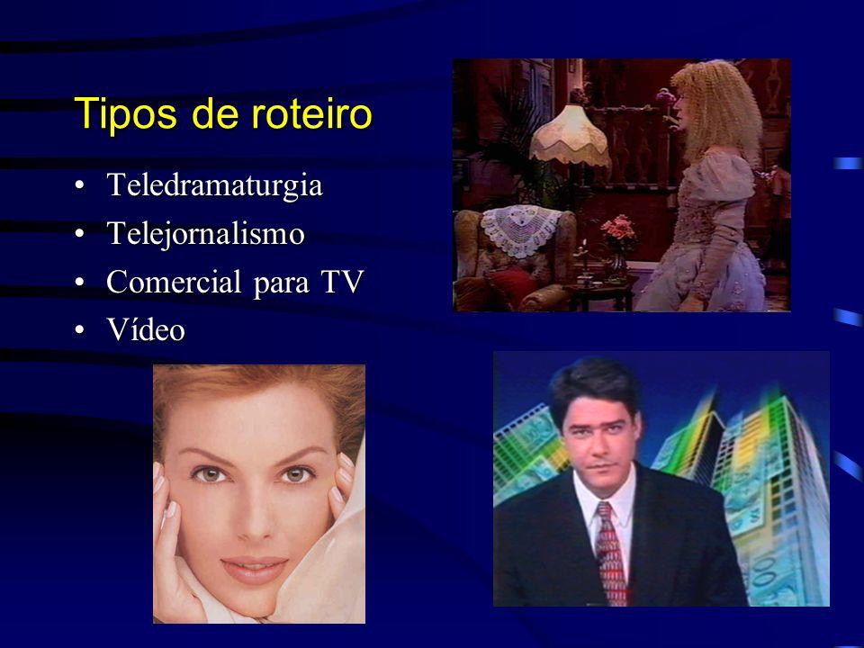 Tipos de roteiro Teledramaturgia Telejornalismo Comercial para TV
