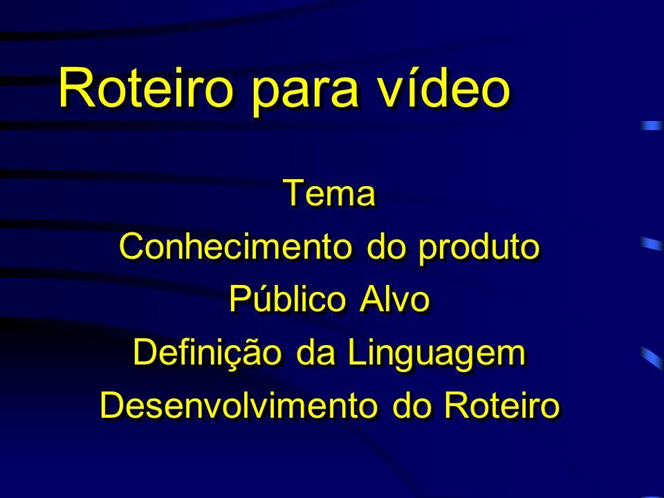 Roteiro para vídeo Tema Conhecimento do produto Público Alvo