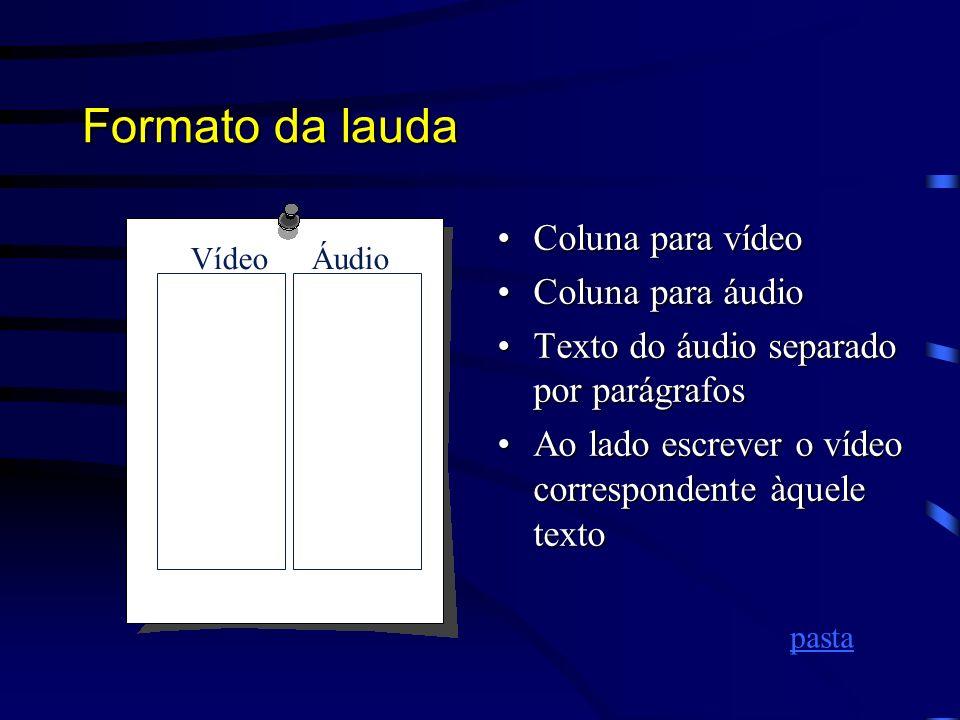 Formato da lauda Coluna para vídeo Coluna para áudio