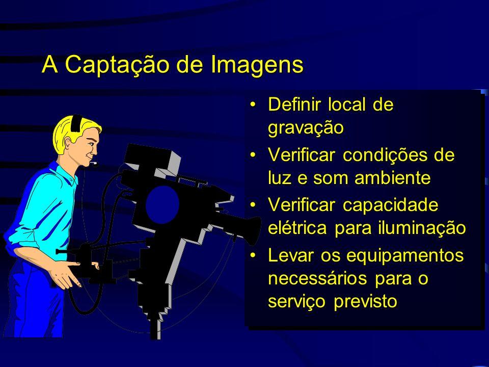 A Captação de Imagens Definir local de gravação