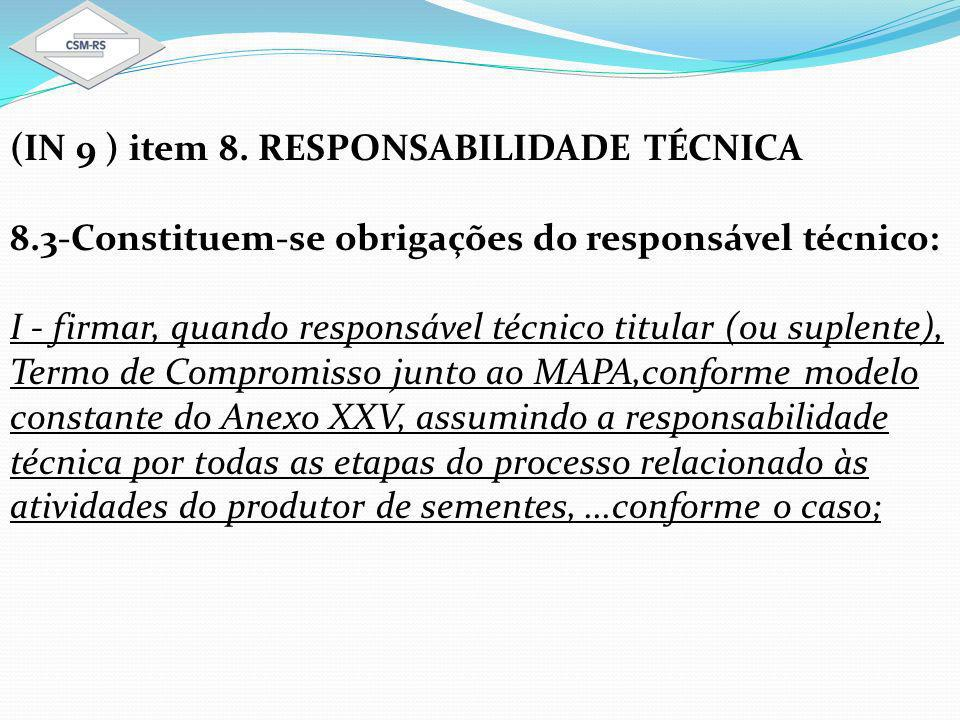 (IN 9 ) item 8. RESPONSABILIDADE TÉCNICA