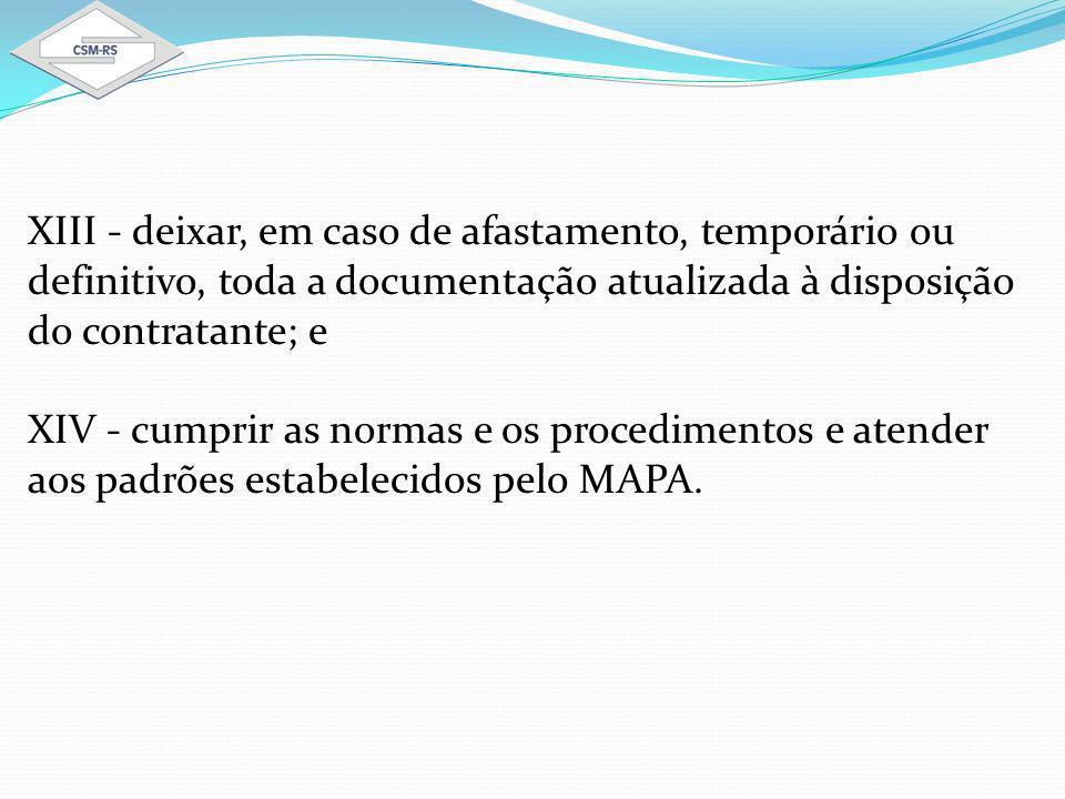 XIII - deixar, em caso de afastamento, temporário ou definitivo, toda a documentação atualizada à disposição do contratante; e