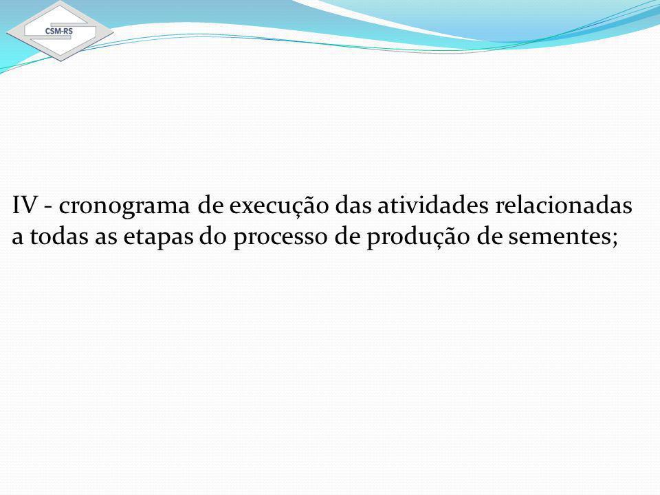 IV - cronograma de execução das atividades relacionadas a todas as etapas do processo de produção de sementes;