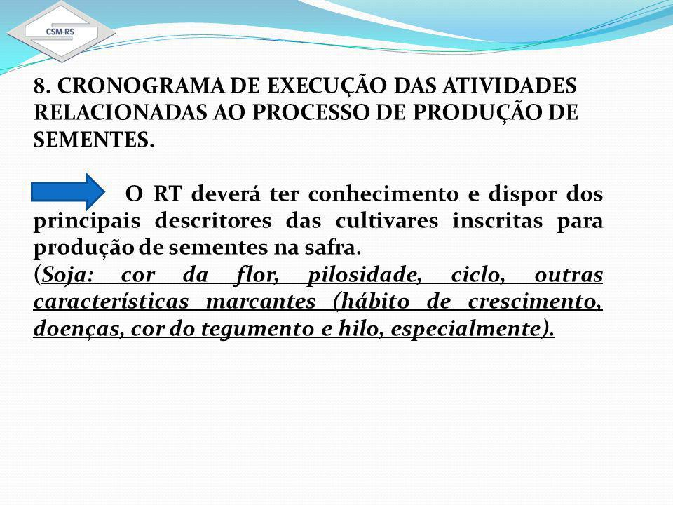 8. CRONOGRAMA DE EXECUÇÃO DAS ATIVIDADES RELACIONADAS AO PROCESSO DE PRODUÇÃO DE SEMENTES.