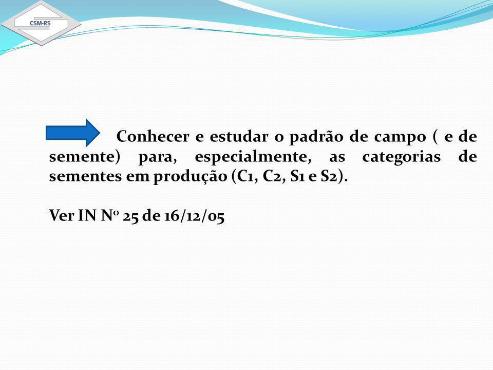 Conhecer e estudar o padrão de campo ( e de semente) para, especialmente, as categorias de sementes em produção (C1, C2, S1 e S2).