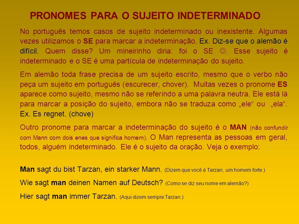 PRONOMES PARA O SUJEITO INDETERMINADO