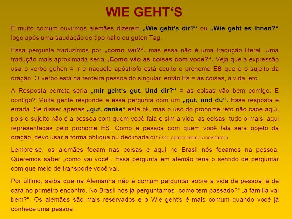 """WIE GEHT'S É muito comum ouvirmos alemães dizerem """"Wie geht's dir ou """"Wie geht es Ihnen logo após uma saudação do tipo hallo ou guten Tag."""