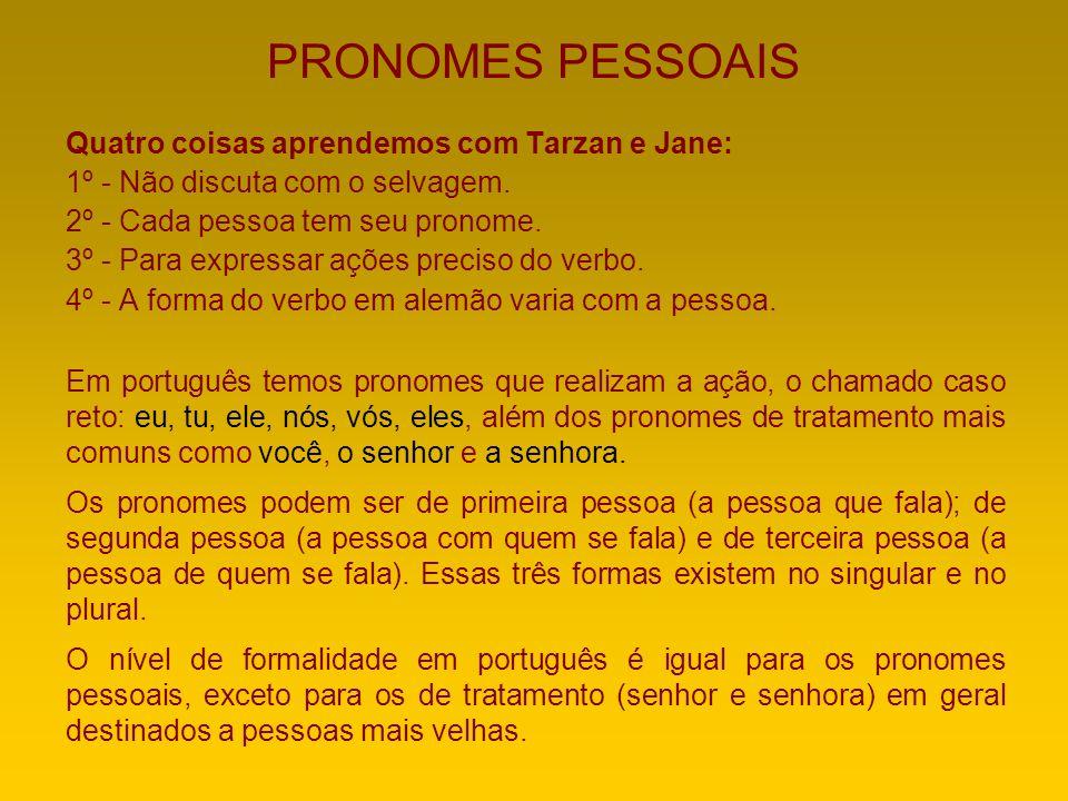 PRONOMES PESSOAIS Quatro coisas aprendemos com Tarzan e Jane: