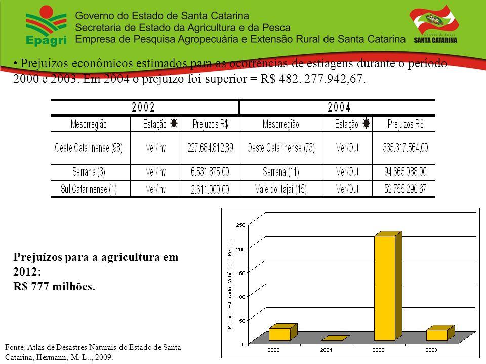Prejuízos econômicos estimados para as ocorrências de estiagens durante o período 2000 e 2003. Em 2004 o prejuízo foi superior = R$ 482. 277.942,67.