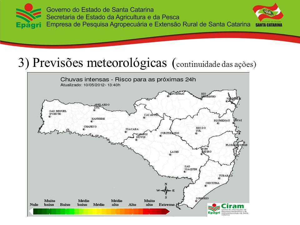 3) Previsões meteorológicas (continuidade das ações)