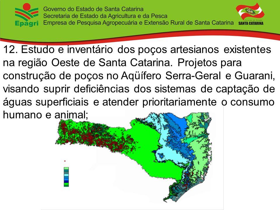 12. Estudo e inventário dos poços artesianos existentes na região Oeste de Santa Catarina.