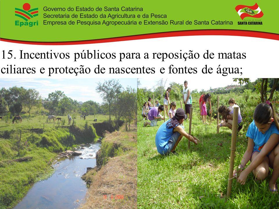 15. Incentivos públicos para a reposição de matas ciliares e proteção de nascentes e fontes de água;