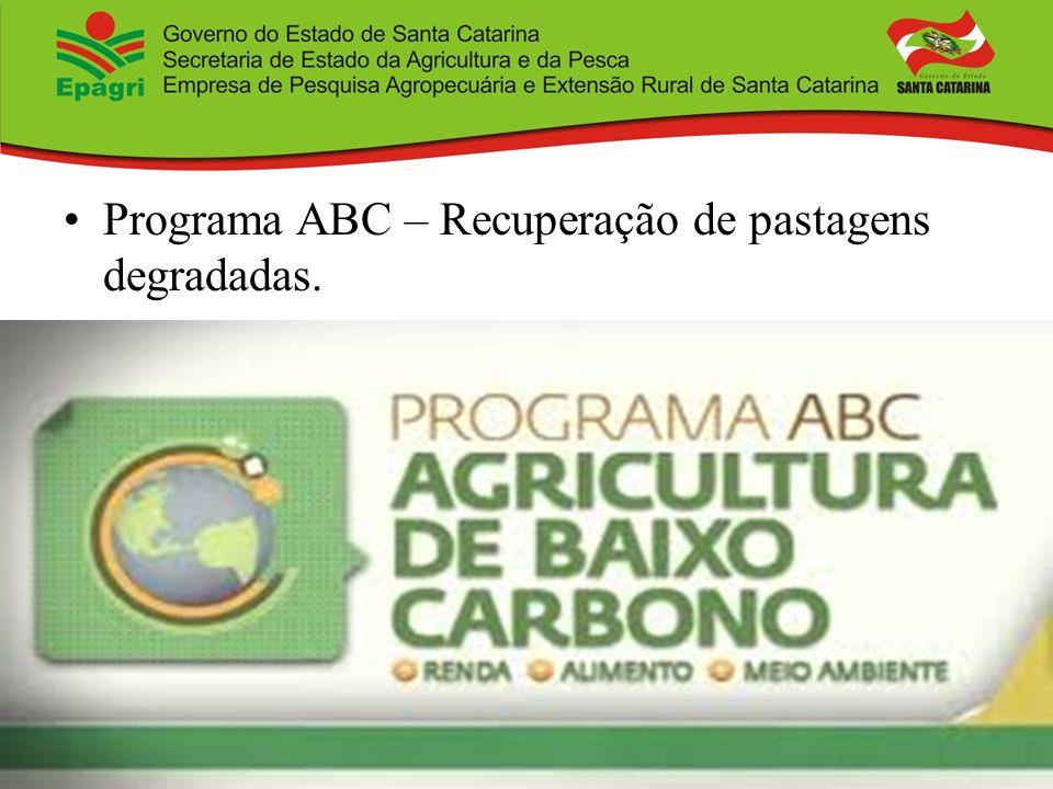 Programa ABC – Recuperação de pastagens degradadas.