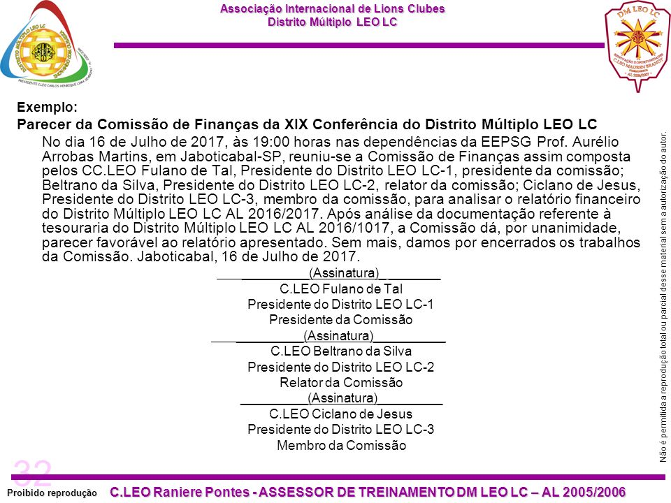 Exemplo: Parecer da Comissão de Finanças da XIX Conferência do Distrito Múltiplo LEO LC.