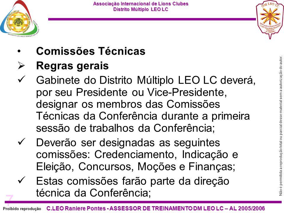 Comissões Técnicas Regras gerais.