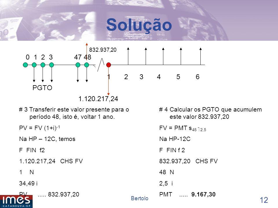 Solução 832.937,20. 0 1 2 3 47 48. 1 2 3 4 5 6. PGTO.