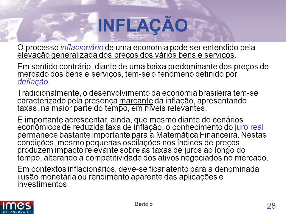 INFLAÇÃO O processo inflacionário de uma economia pode ser entendido pela elevação generalizada dos preços dos vários bens e serviços.