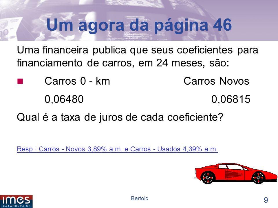 Um agora da página 46 Uma financeira publica que seus coeficientes para financiamento de carros, em 24 meses, são: