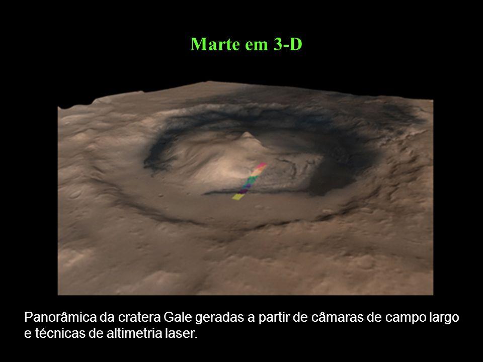 Marte em 3-D Panorâmica da cratera Gale geradas a partir de câmaras de campo largo e técnicas de altimetria laser.