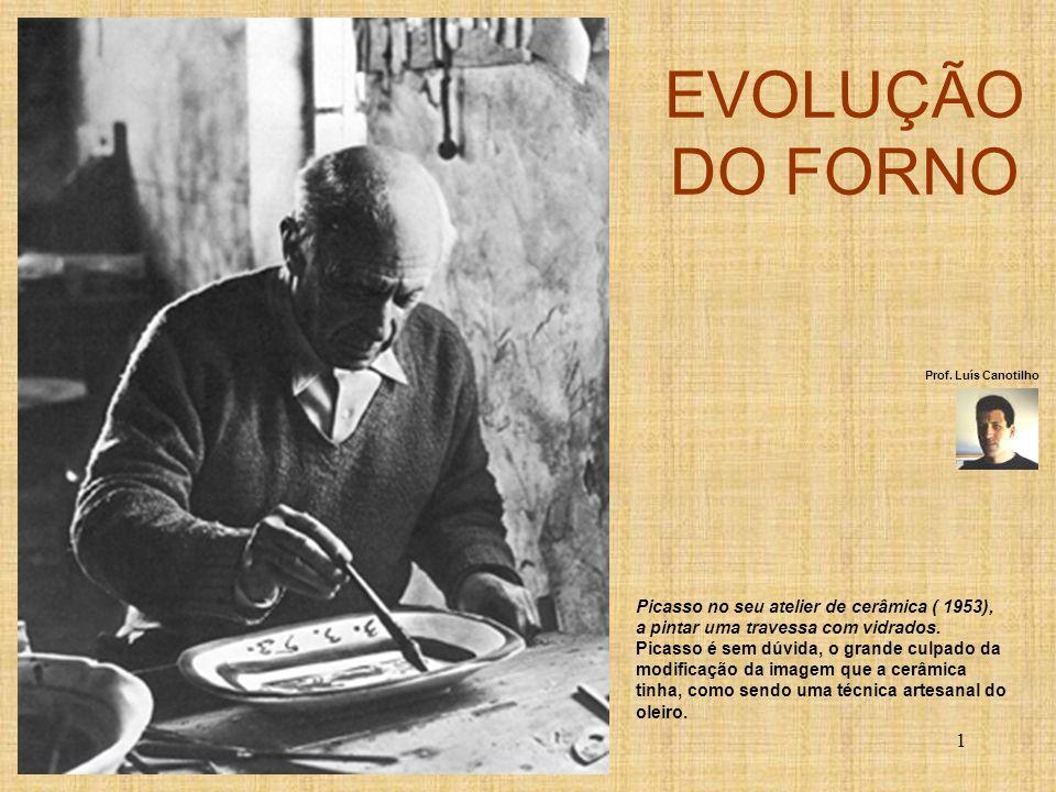 EVOLUÇÃO DO FORNO Picasso no seu atelier de cerâmica ( 1953),