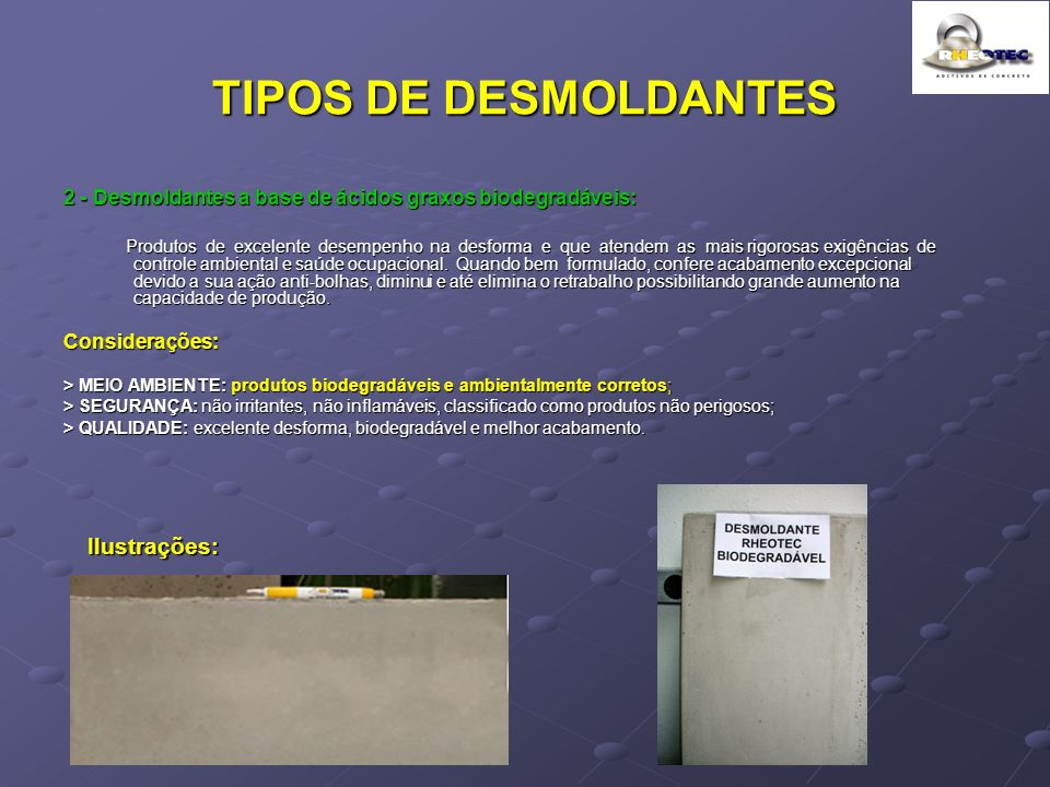 TIPOS DE DESMOLDANTES Ilustrações: