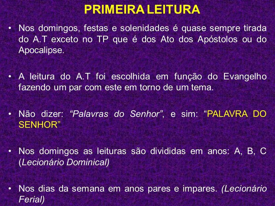 PRIMEIRA LEITURA Nos domingos, festas e solenidades é quase sempre tirada do A.T exceto no TP que é dos Ato dos Apóstolos ou do Apocalipse.