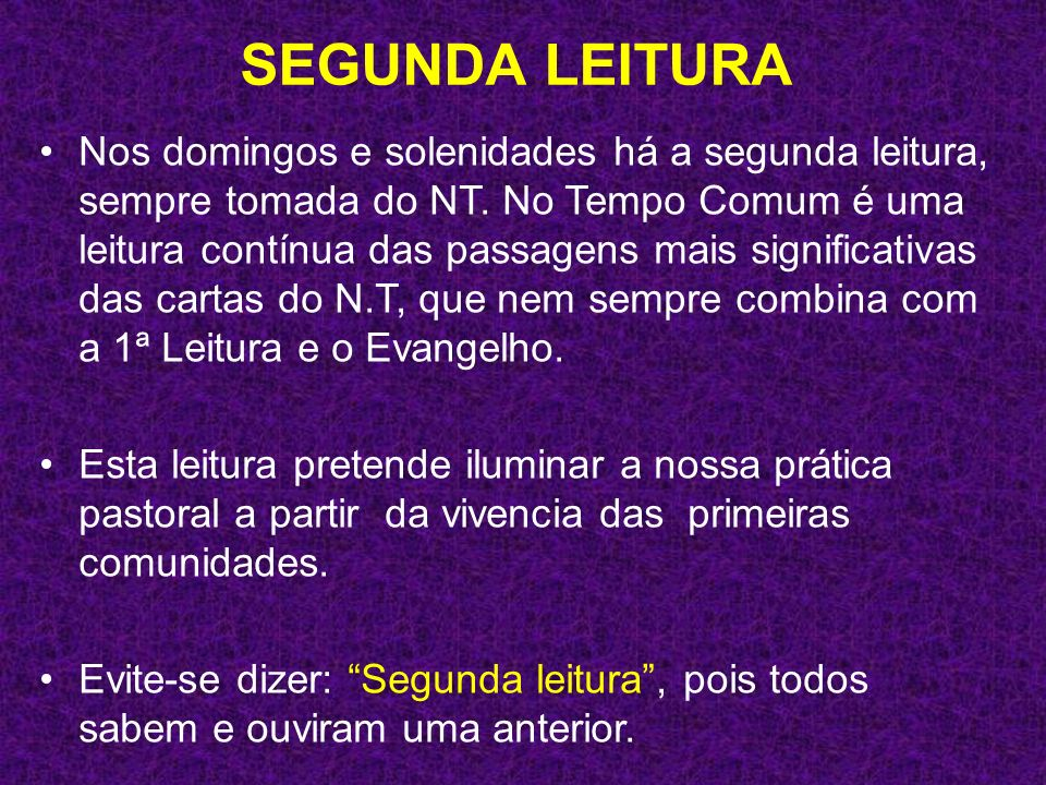 SEGUNDA LEITURA