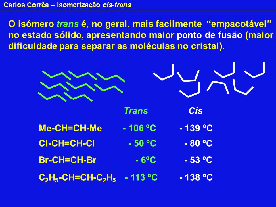 O isómero trans é, no geral, mais facilmente empacotável no estado sólido, apresentando maior ponto de fusão (maior