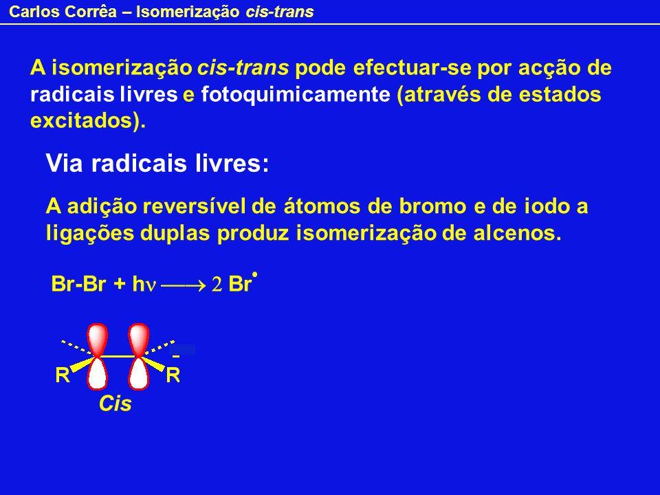 A isomerização cis-trans pode efectuar-se por acção de radicais livres e fotoquimicamente (através de estados excitados).