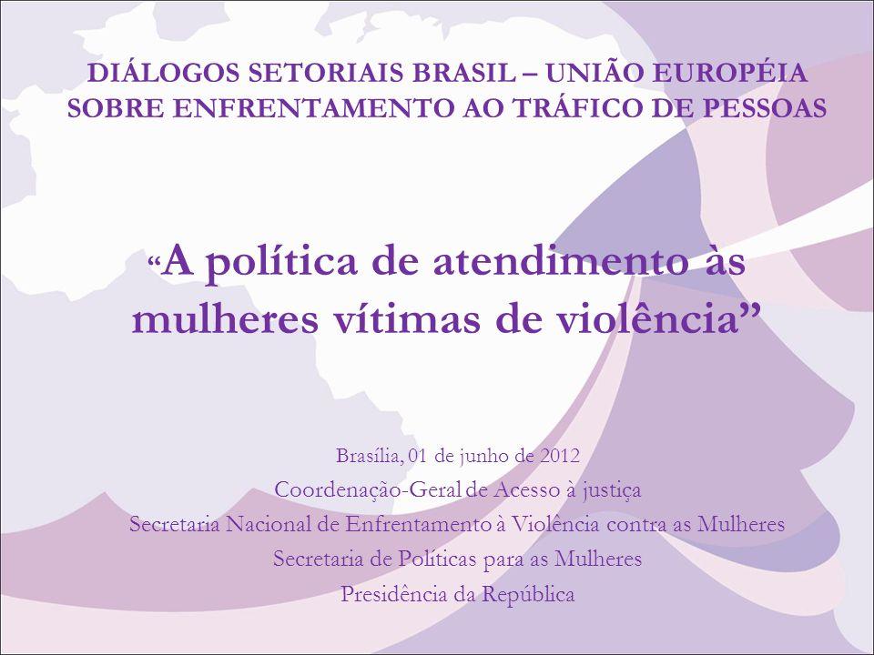 DIÁLOGOS SETORIAIS BRASIL – UNIÃO EUROPÉIA SOBRE ENFRENTAMENTO AO TRÁFICO DE PESSOAS A política de atendimento às mulheres vítimas de violência