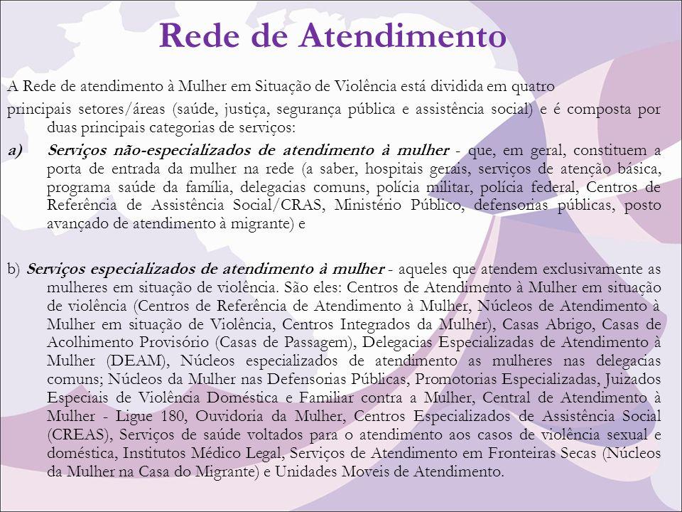 Rede de Atendimento A Rede de atendimento à Mulher em Situação de Violência está dividida em quatro.