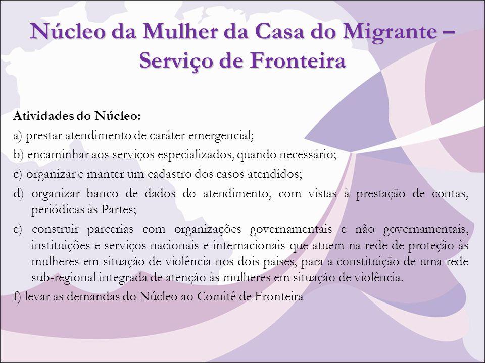 Núcleo da Mulher da Casa do Migrante – Serviço de Fronteira
