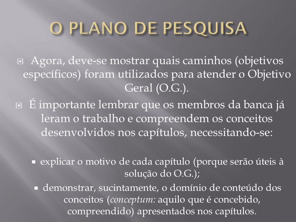 O PLANO DE PESQUISA Agora, deve-se mostrar quais caminhos (objetivos específicos) foram utilizados para atender o Objetivo Geral (O.G.).