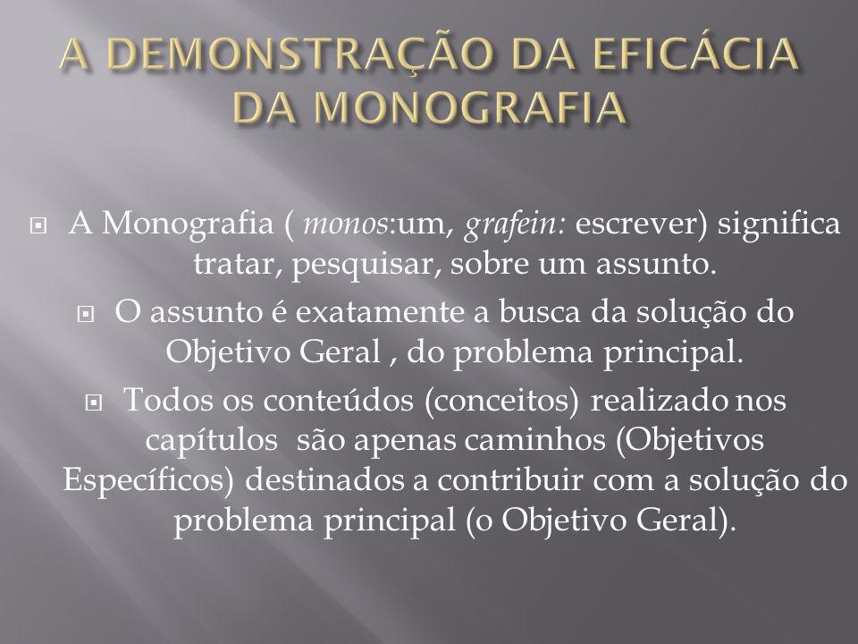 A DEMONSTRAÇÃO DA EFICÁCIA DA MONOGRAFIA