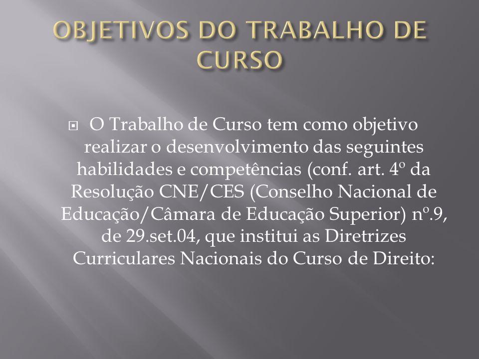 OBJETIVOS DO TRABALHO DE CURSO