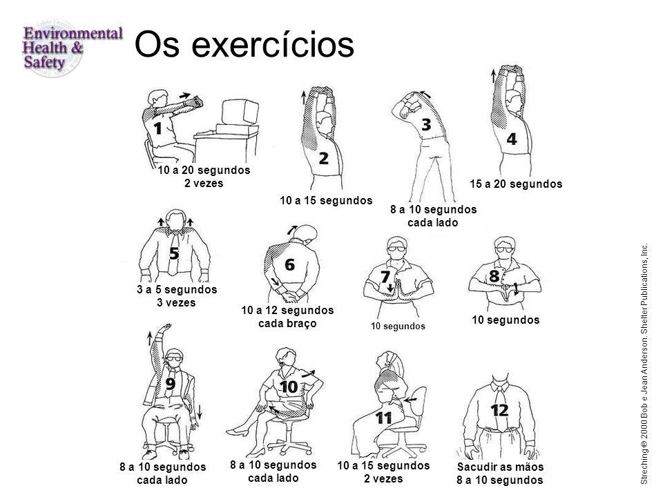 Os exercícios 10 a 20 segundos 2 vezes 15 a 20 segundos